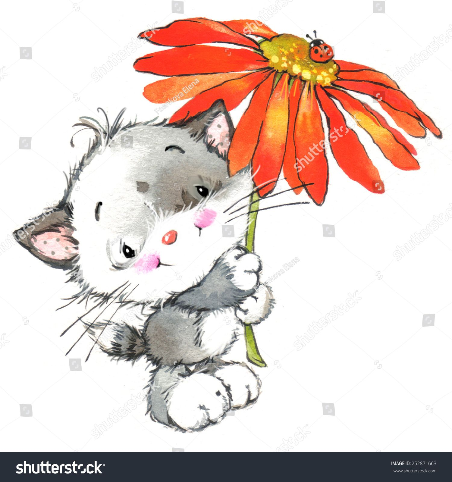 Funny Kitten And Flower Decor For Holiday Greetings Card And Kids Background Watercolor Illustration Kittens Funny Kids Background Watercolor Illustration