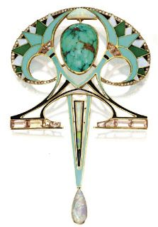 An enamel, opal, and turquoise art nouveau brooch by Georges Fouquet   JV