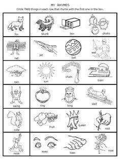 free printable rhymes rhyming words worksheets for preschool ...