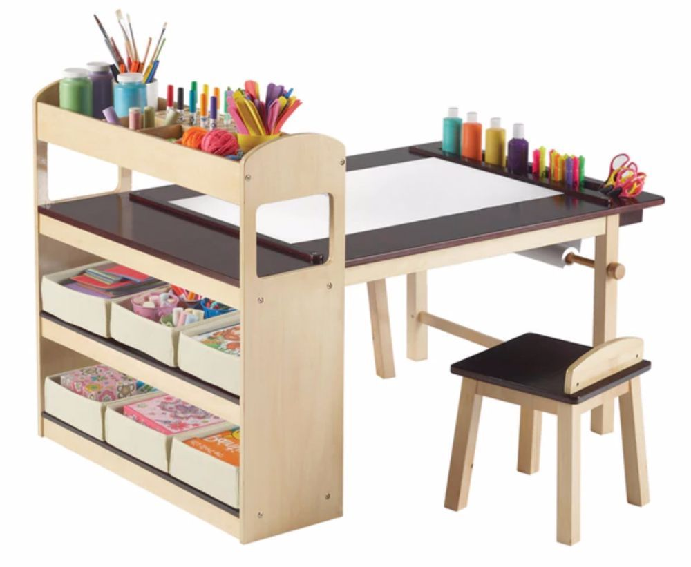 Art Desk For Kids With Storage Bins Activity Study School Chairs