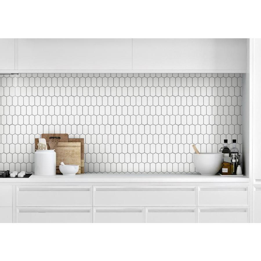 Bedrosians Isabella White Lantern Mosaic Ceramic Wall Tile Common