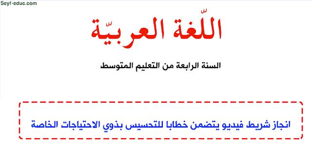 تحضير درس انجاز شريط فيديو يتضمن خطابا للتحسيس بذوي الاحتياجات الخاصة Http Www Seyf Educ Com 2019 10 Pre Lecon Injaz Chrit Video Arabe 4am Html Arabe