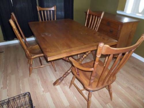 Vintage 1950s Cushman Colonial Wood Dining Table 4