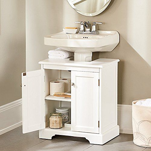 Pedestal Sink Cabinet Instantly Create A Portable Under Sink Vanity Perfect For Rental Homes No Construction Or Harm To Walls Small Bathroom Storage Pedestal Sink Storage