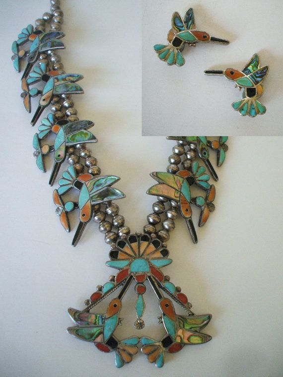 Rare Howard Esalio Hummingbird Squash Blossom Necklace Amp Earrings Set