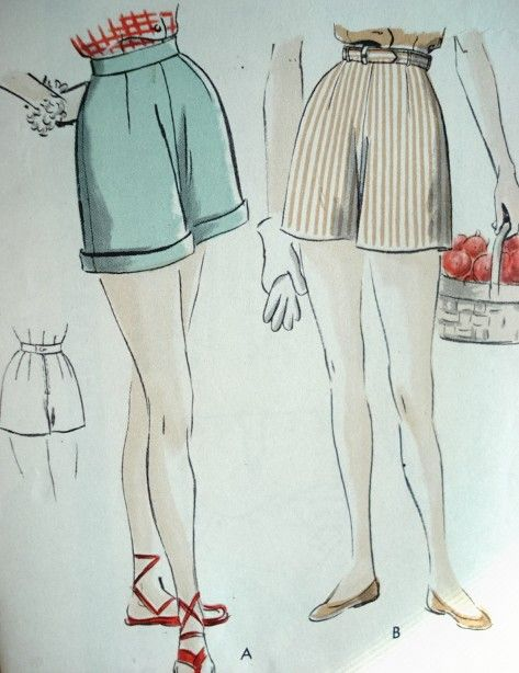 60s Figure Flattering Shorts Pattern Vogue 60 Rockabilly High Custom High Waisted Shorts Pattern