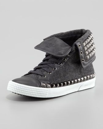 Spencer Men\'s Studded Flannel High-Top Sneaker by Jimmy Choo at Bergdorf Goodman.