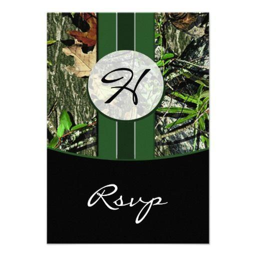 Hunter Green Hunting Camo Wedding RSVP Cards