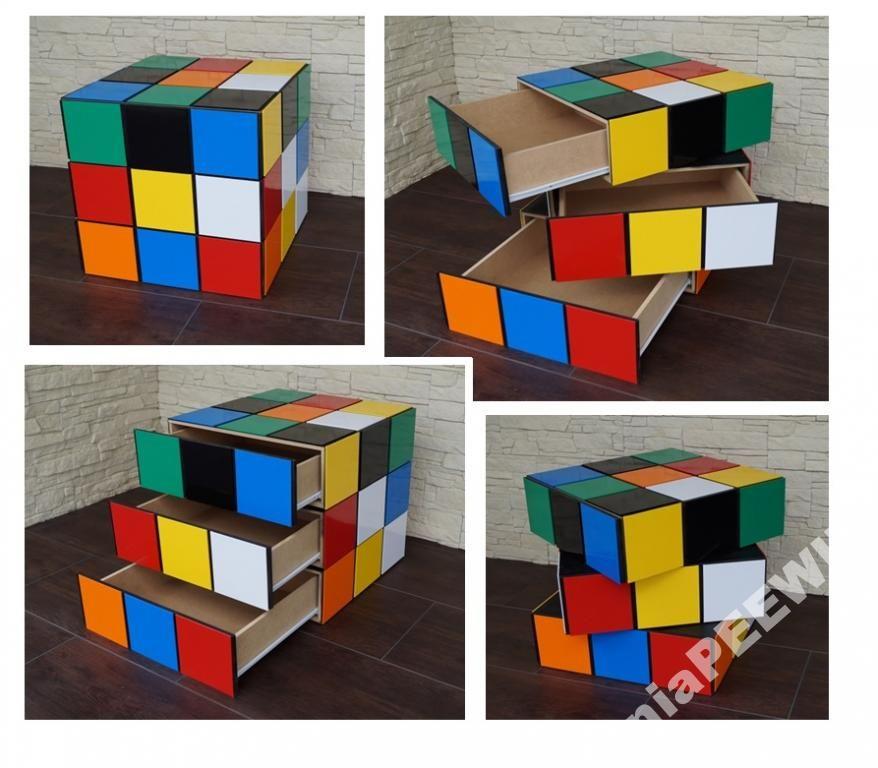 Szafka Nocna Komoda Z Szufladami Kostka Rubika 50 Mesas Y Sillas De Ninos Decoracion De Habitaciones Muebles Ninos