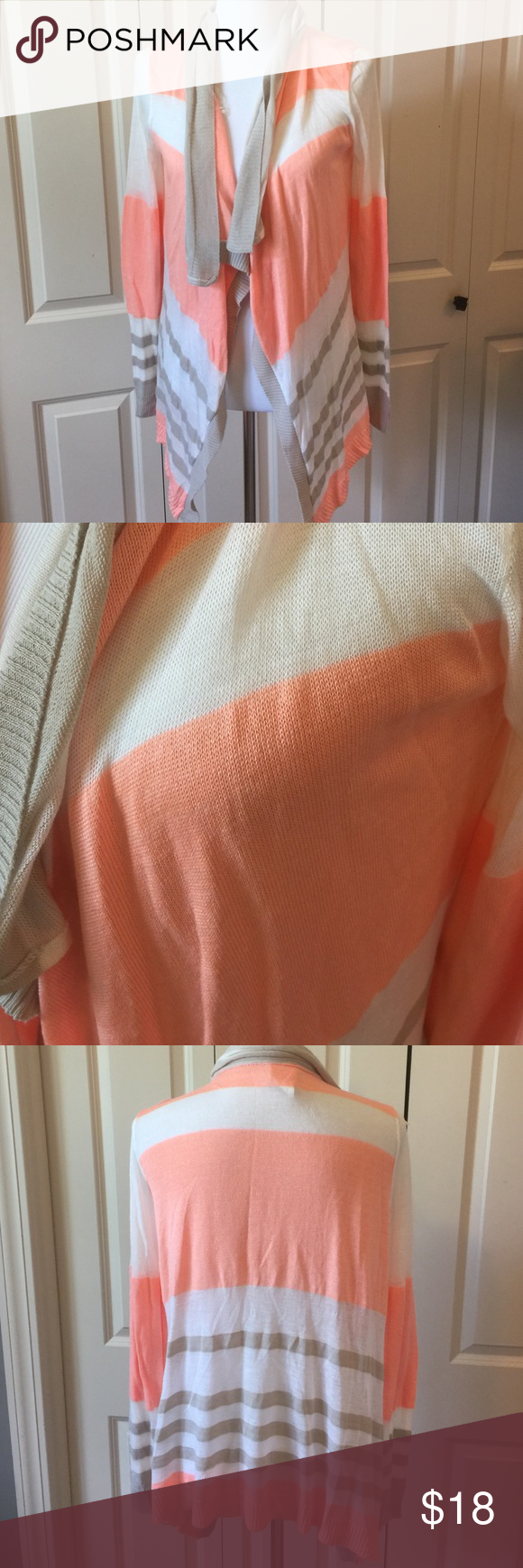Peach and Tan Striped Open Front Cardigan One small flaw on the back shown in pic. Not noticeable at all. 100% acrylic Daytrip Sweaters Cardigans