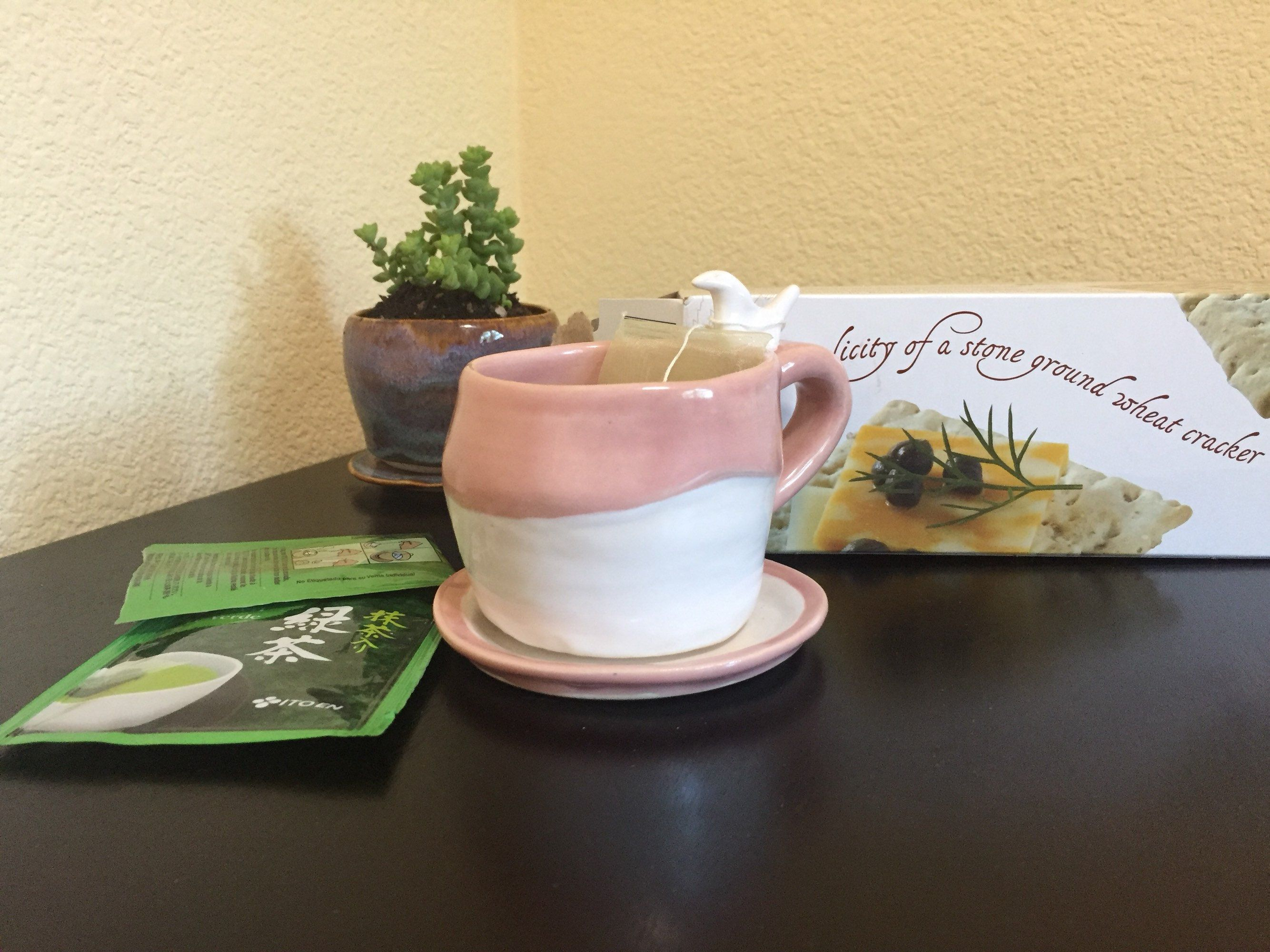 Just Added This Cute Pink And White Tea Cup And
