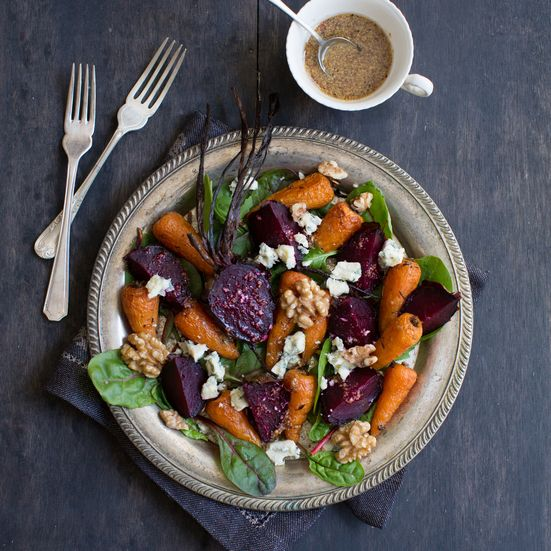Anne Faber shares her recipe for a British roast vegetable salad at Food & Wine.