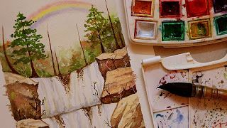 تعليم الرسم كيف ترسم سكتش منظر طبيعي قوس قزح و شلال وصخور واشجار تعاون مع ندى خليل Http Ift Tt 2ttnyg8 تعلم الرسم بالالوان المائية خ Art Painting Drawings