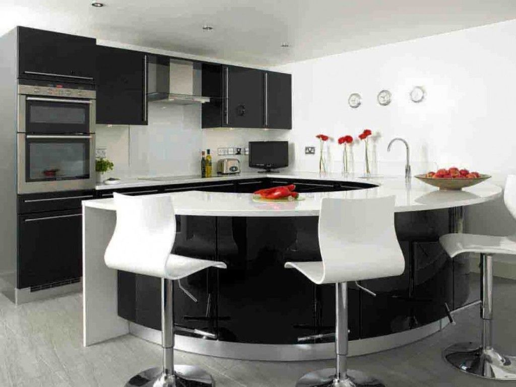 modern black and white curved kitchen islan #lglimitlessdesign
