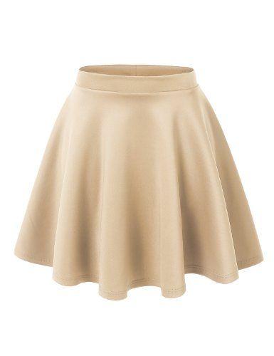 e8148b3237b6 Womens Basic Versatile Stretchy Flared Skater Skirt Made By Johnny  http://www.