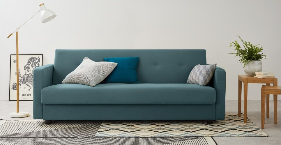 Chou Canape Convertible Avec Compartiment De Rangement Bleu Sorbet Retro Sofa Sofa Bed With Storage Blue Living Room