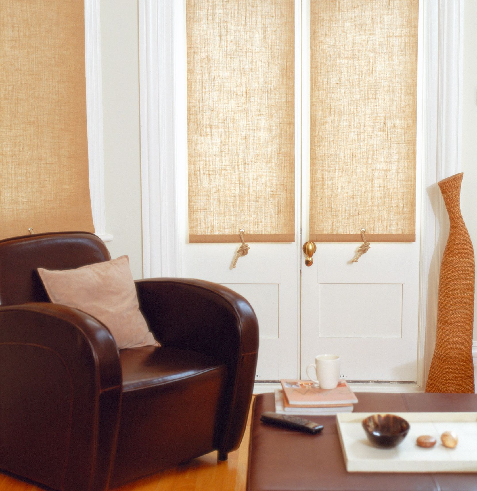 Window privacy ideas  this hessian weave roller blind still adds plenty of light to a room