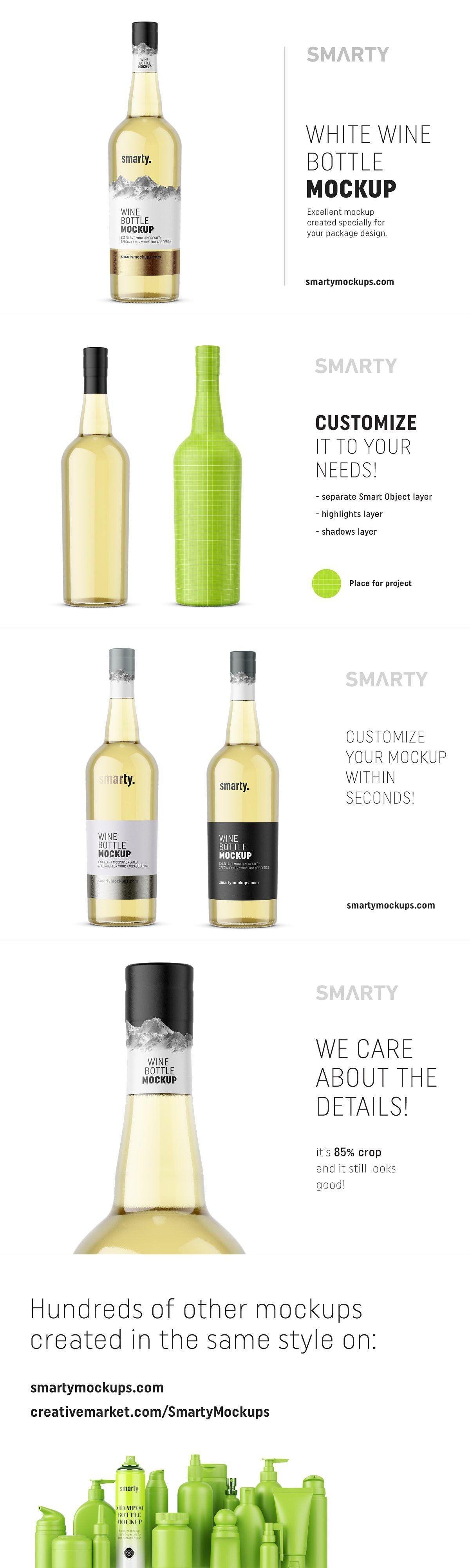 White Wine Bottle Mockup Bottle Mockup Wine Bottle White Wine