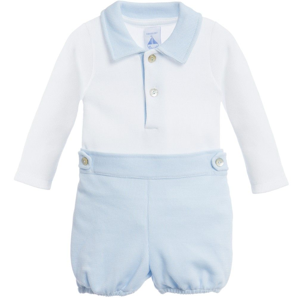 Baby boys cute 2 piece shorts set by <span>Babidu, made in a soft and fine cotton knit. The white long sleeve top has a pale blue collar and button fastenings at the neck. The shorts match the collar and have an elasticated waist with button details on the waistband. <br /></span> <ul> <li>100% cotton (fine cotton knit feel)</li> <li>Machine wash (40*C)</li> <li>Button fastenings on the front</li> <li>Elasticated waist</li> <li>2 piece set</li> </ul>