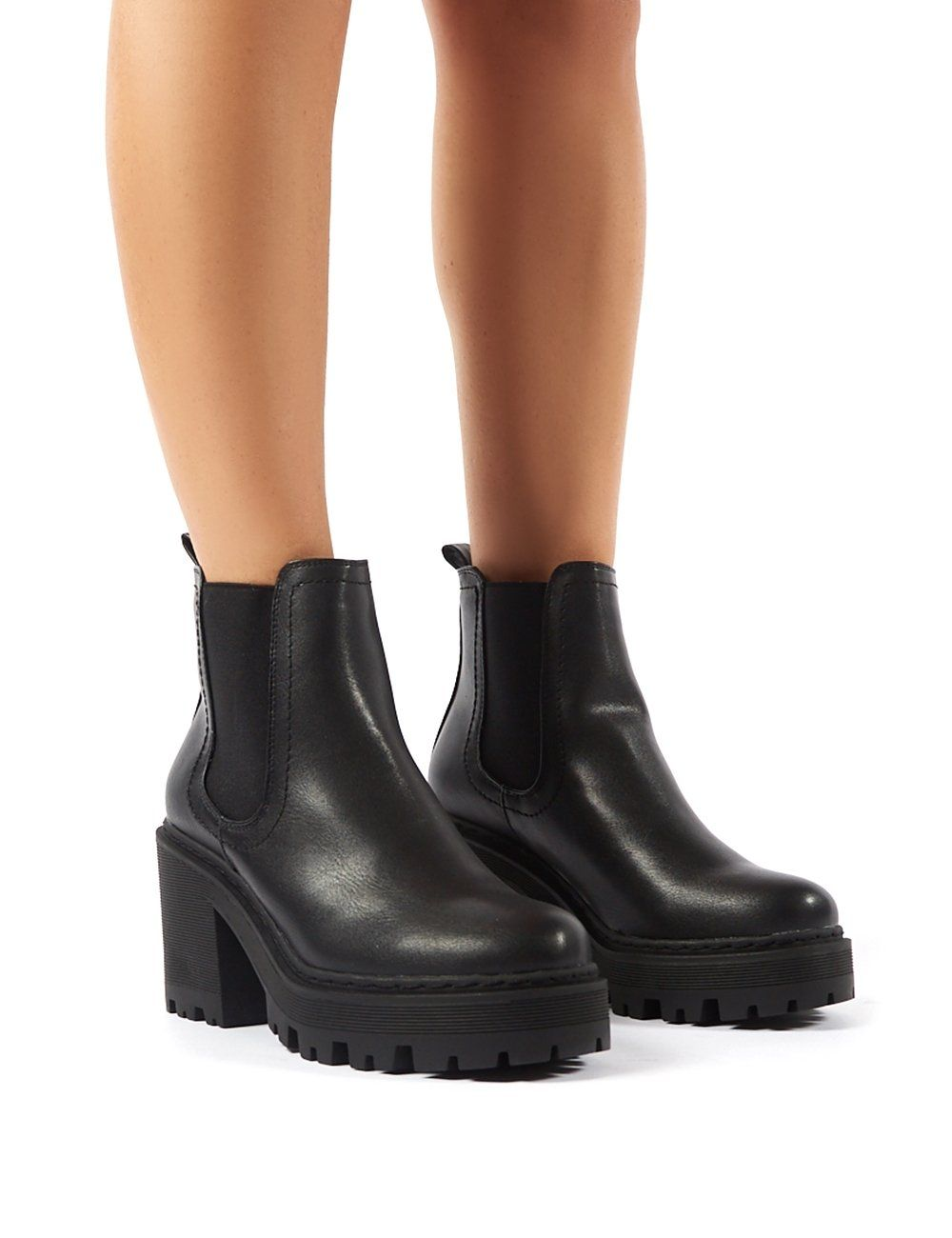Kristy Black Cleated Sole Block Heeled