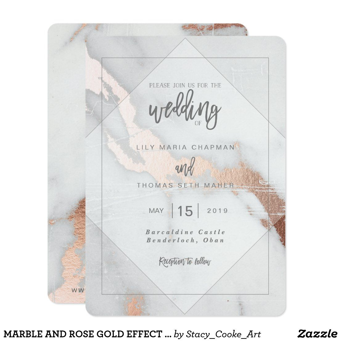 Marble And Rose Gold Effect Wedding Invitation Zazzle Com In 2020 Marble Invitation Wedding Wedding Invitations Foil Wedding Invitations