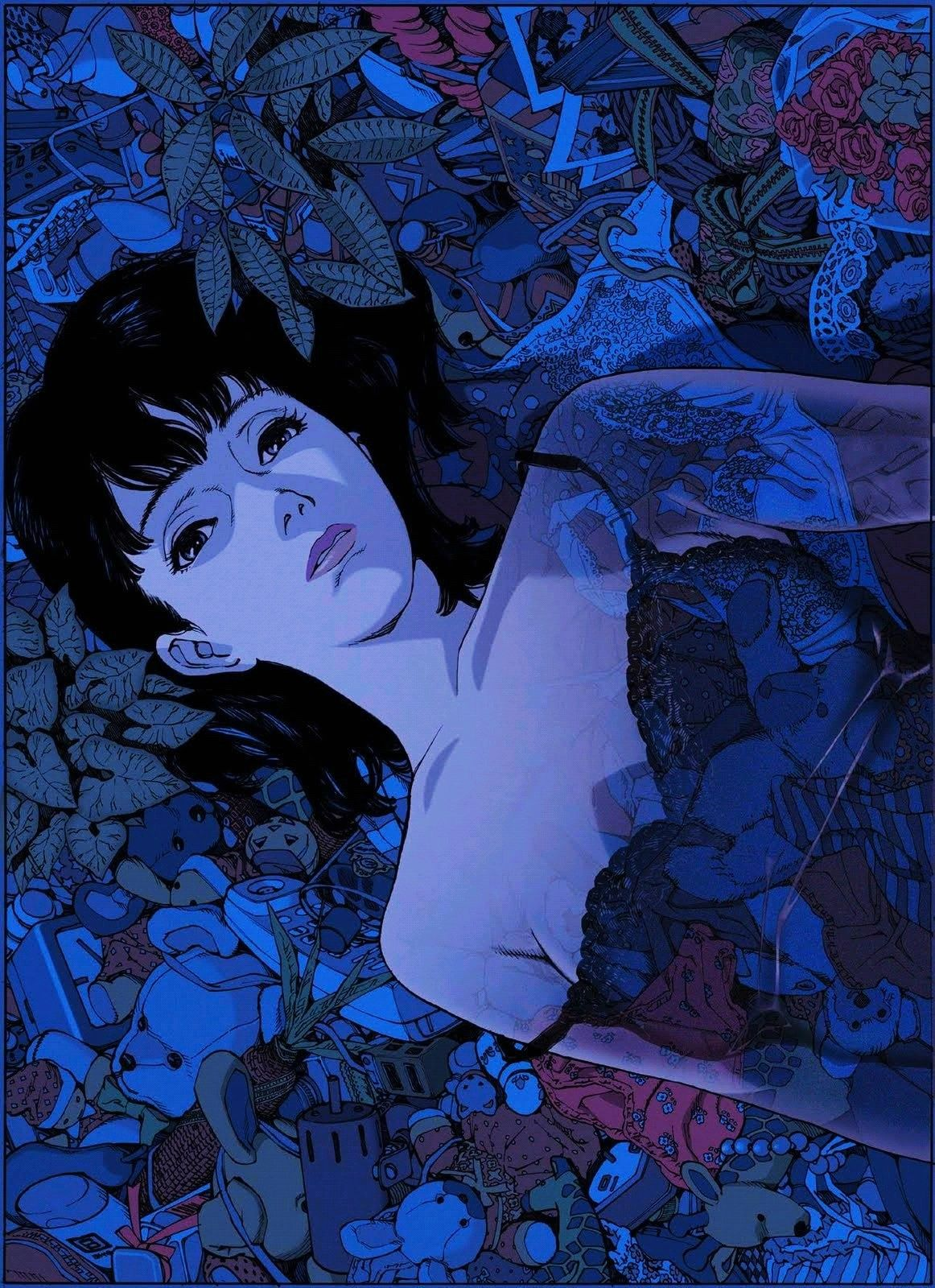 Directed By Satoshi Kon In 2020 Blue Anime Aesthetic Anime Anime Wall Art