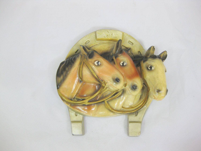 Chalkware horses horse figurine plaster horse wall