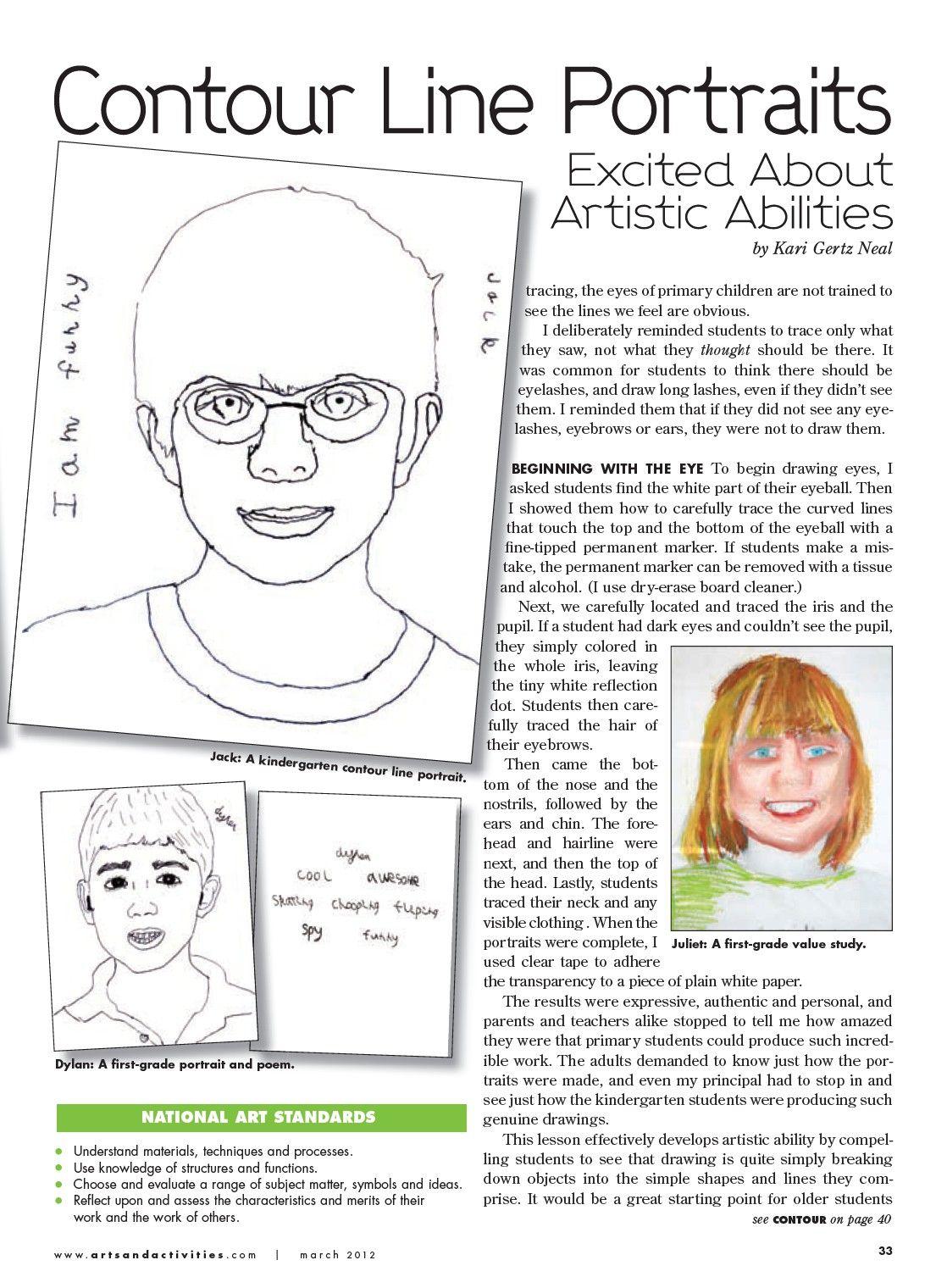 Contour Line Portraits Issue Of School Arts