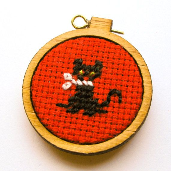 Miniature Needlepoint, Petit Point, Black Kitten Embroidery Hoop Ornament