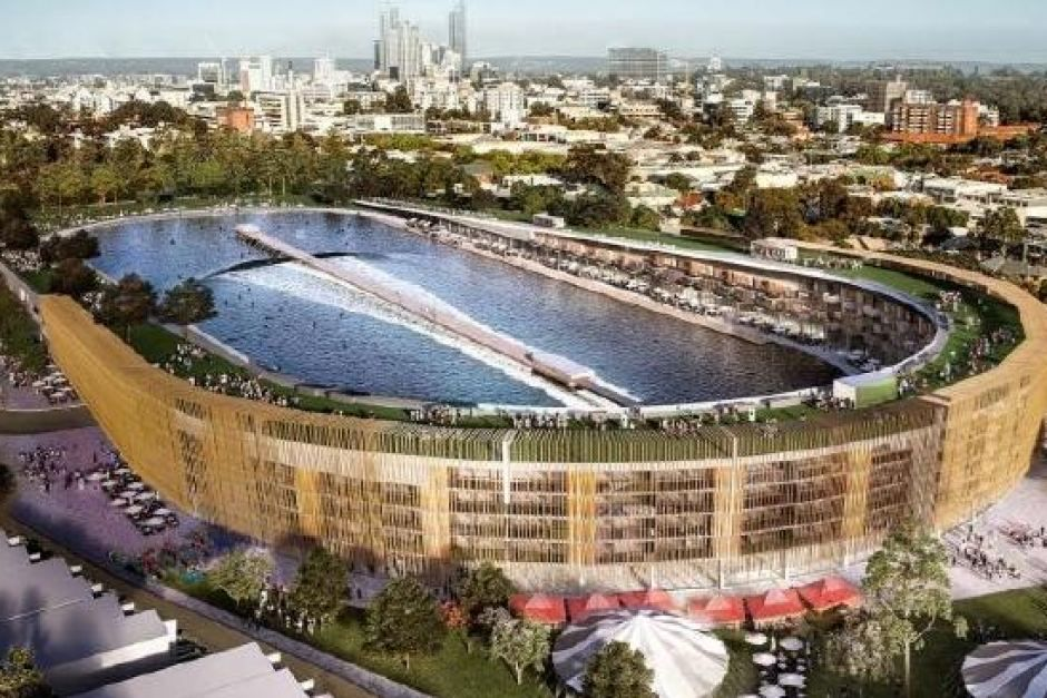 "Photo: The proposed redeveloped Subiaco Oval which would feature, among other things, ""different sized waves"" and 220 apartments (Supplied: Surf Park ..."
