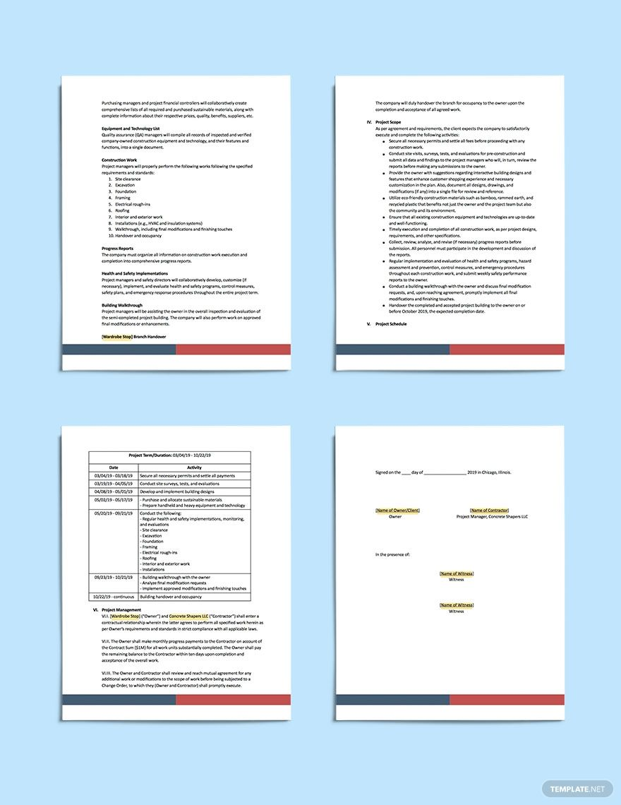 Commercial Construction Scope Of Work Template Word Doc Apple Mac Pages Google Docs Commercial Construction Templates Commercial