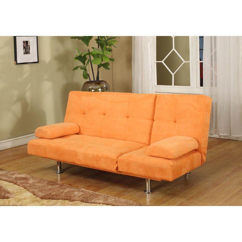 Orange Microfiber Adjule Klik Klak Sofa Futon Bed Sleeper New