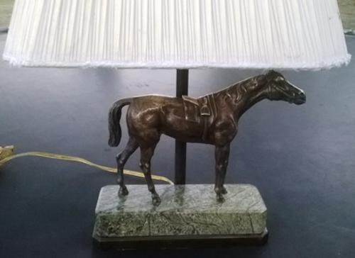 Brass - Vintage Art Deco Leviton Brass Horse Statue Lamp with Marble & Brass Base & Lampshade. for sale in Vereeniging (ID:203271709)