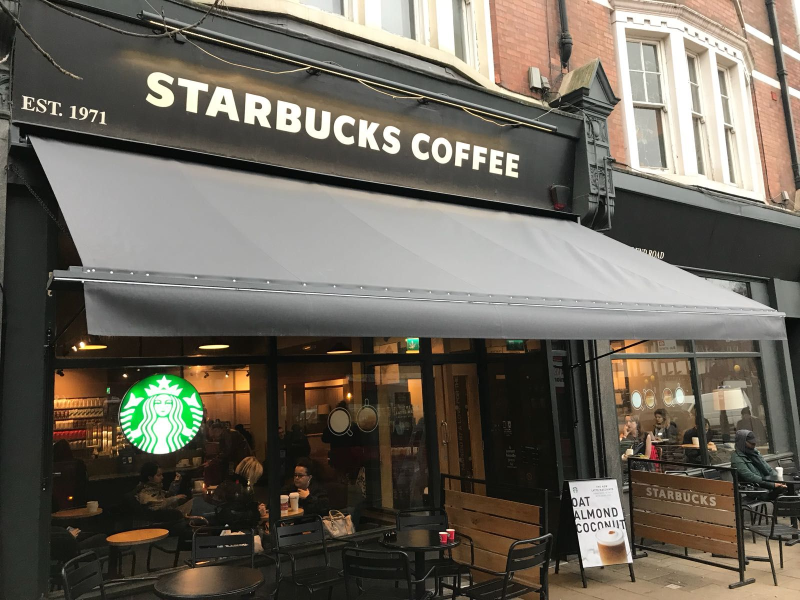 A New Victorian Awning For Starbucks Today They Have To Be One Of The Most Recognised Brands On The High Street And R Terrace Design Shop Awning Blinds Design