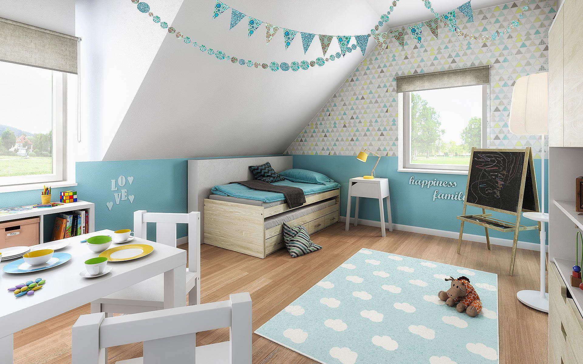 Musterhaus Fertighaus Flair 125 Von Town Country Haus Lizenzgeber Gmbh Kinderzimmer Tapete Bett Unter Dachschräge Kinder Zimmer