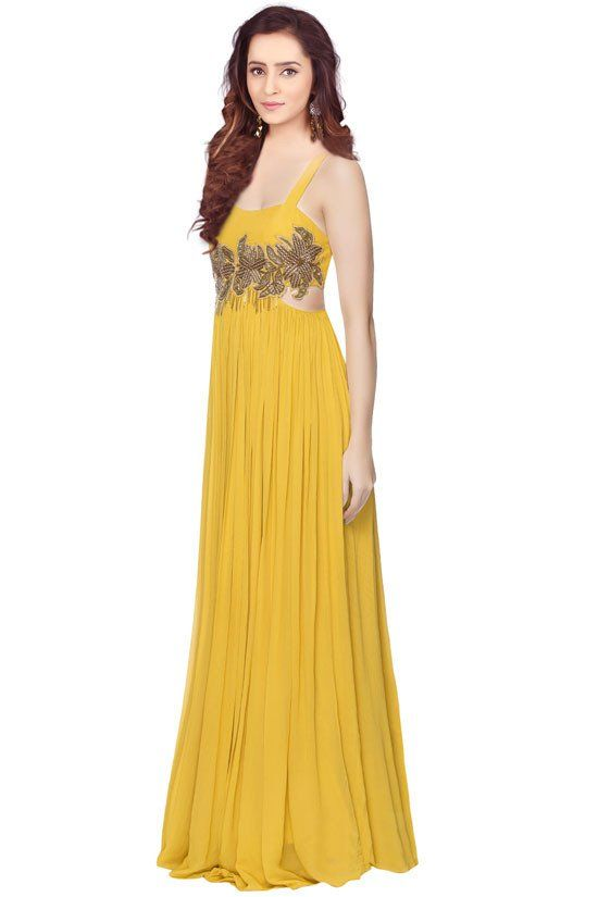 Mustard Yellow Hand Work Gown | Readymade Gowns | Pinterest ...