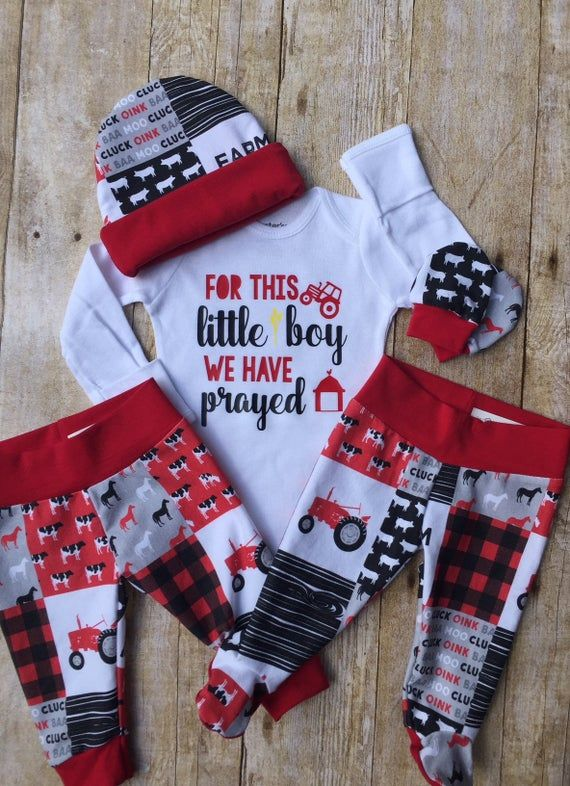 Photo of Red Farm Tractor Coming Home Outfit, Farm Baby Boy Outfit, Religious Take Home Newborn Outfit, For This Little Boy Prayed, Baby Shower Gift