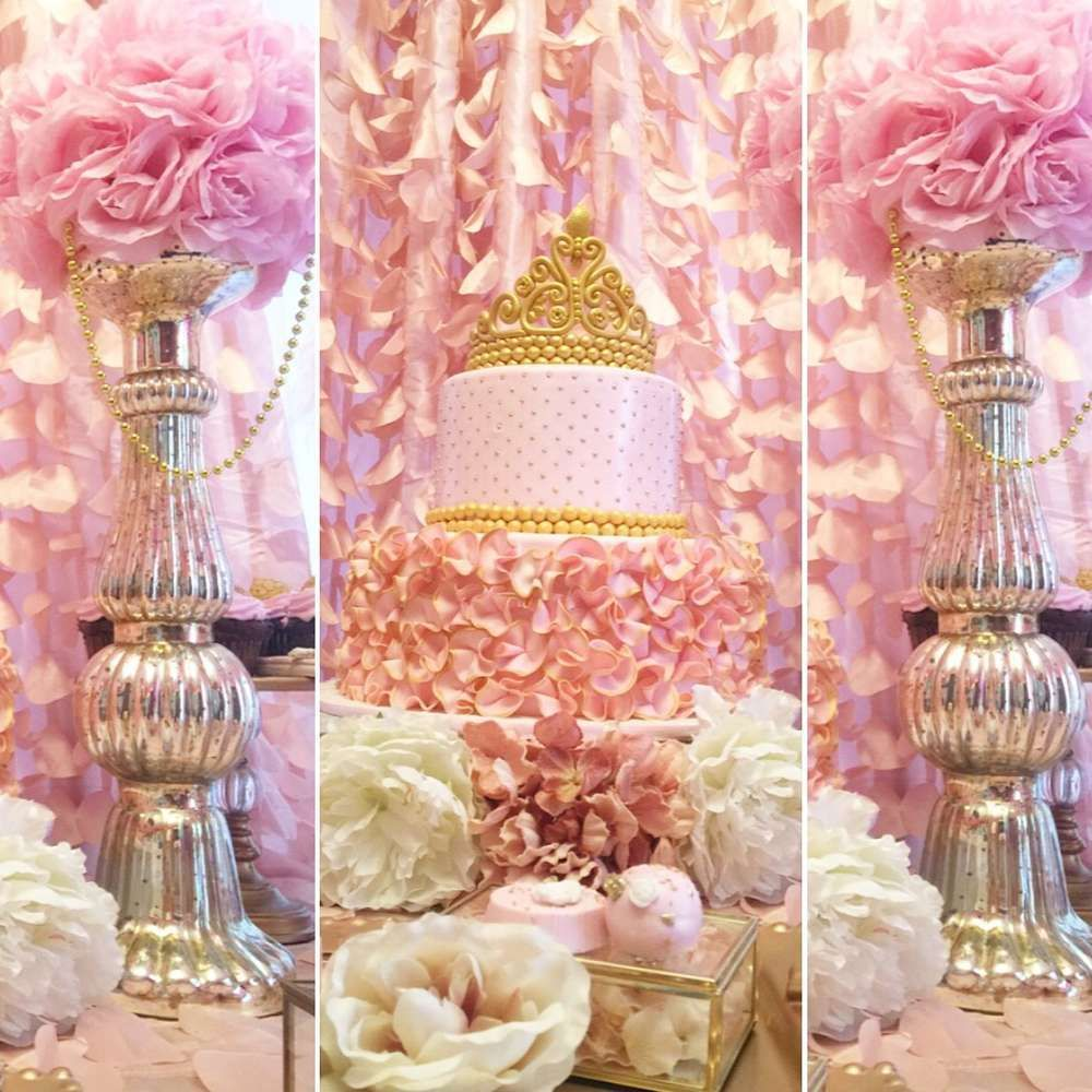 Golden White And Pink Princess Birthday Party Decorations