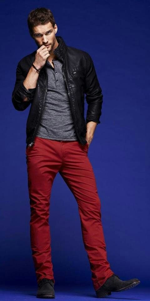 19040ef54 Black jacket and red jeans | Men Style in 2019 | Red pants men ...