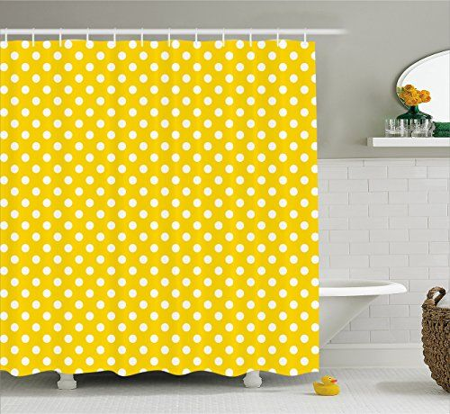 Yellow Decor Shower Curtain By Ambesonne Picnic Inspired Cute 50s