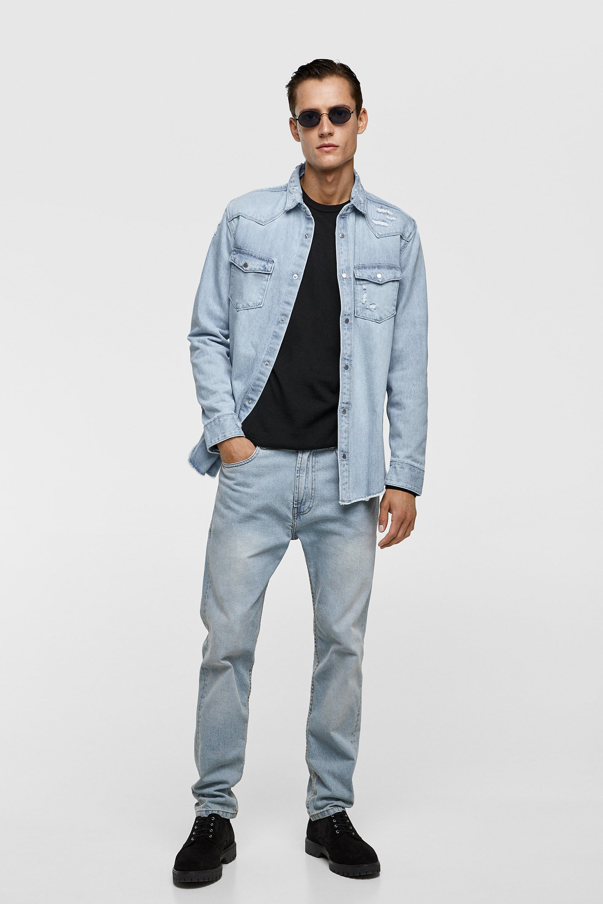 83f9413f9f RIPPED DENIM OVERSHIRT-Denim-SHIRTS-MAN