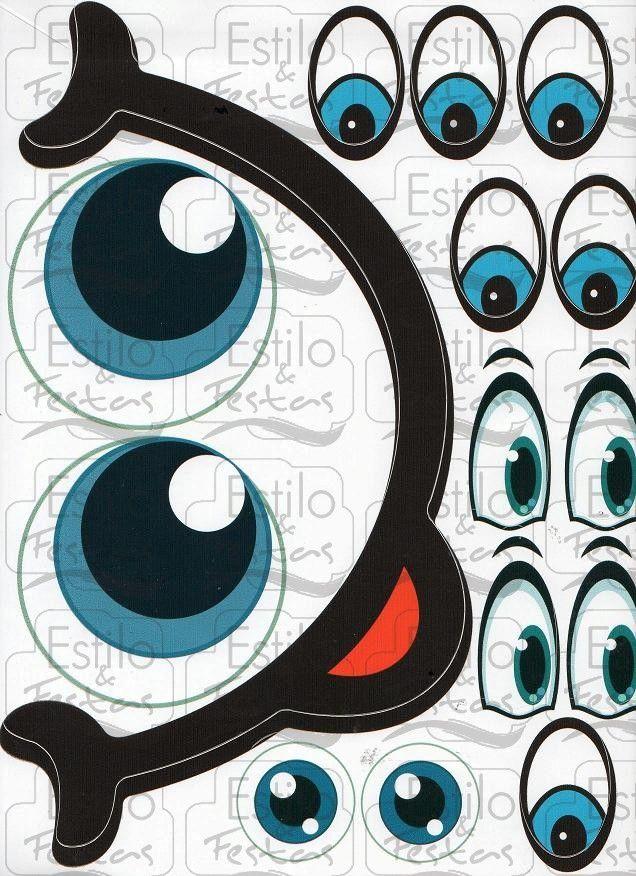 Armario Sala De Tv ~ Adesivo para bal u00e3o Cartela com Olhos e Boca Grande [Estilo e Festas] Ojos, Molde y Caras