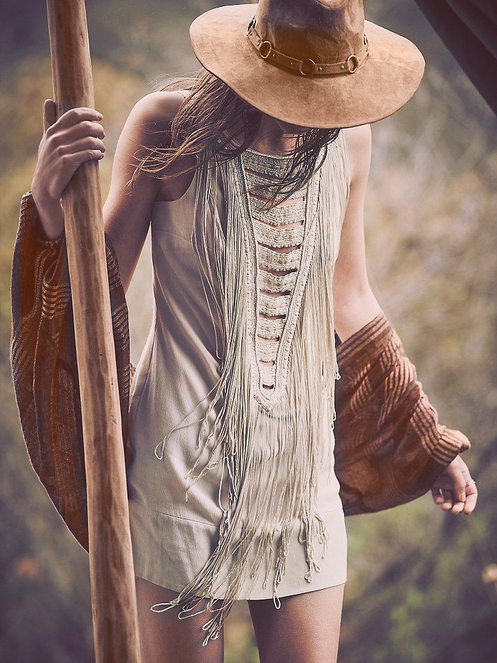 Festival Ready.   Free People White Heat Fringe Shift Dress at Free People Clothing Boutique