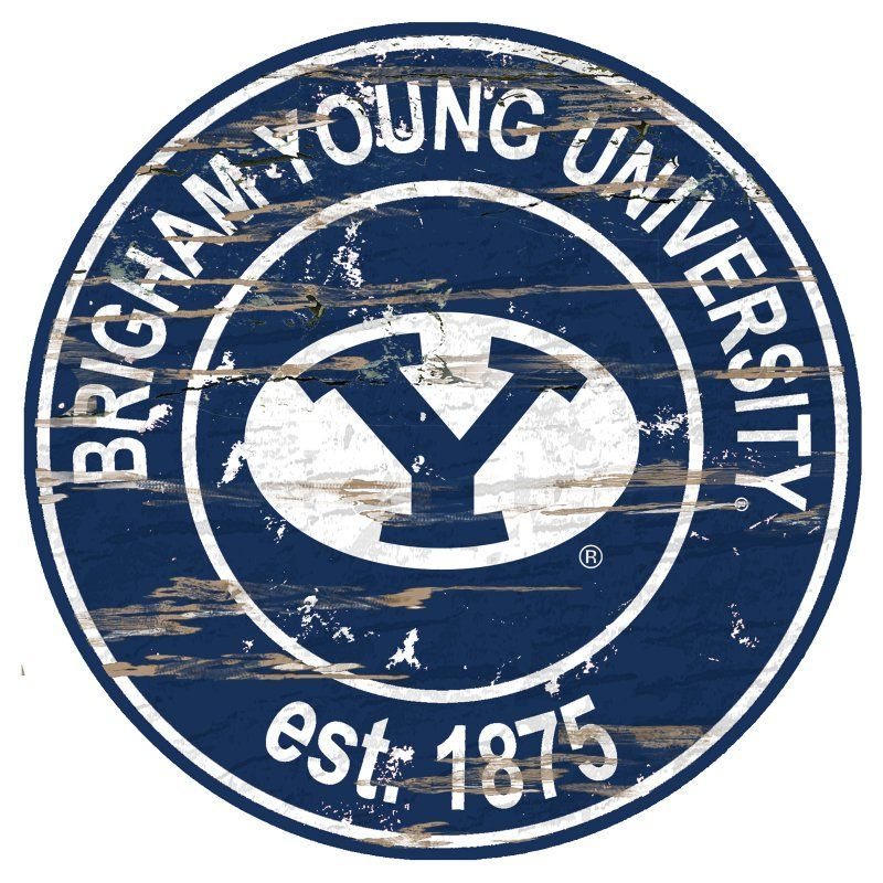 Fan Creations NCAA Distressed Round Sign - C0659-BYU