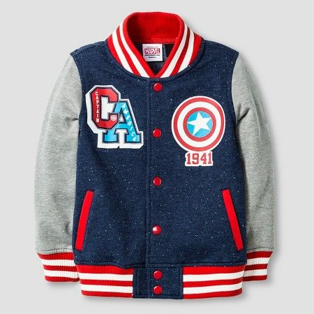 cec586f6b Baby Boys  Captain America® Varsity Jacket - Navy   Target