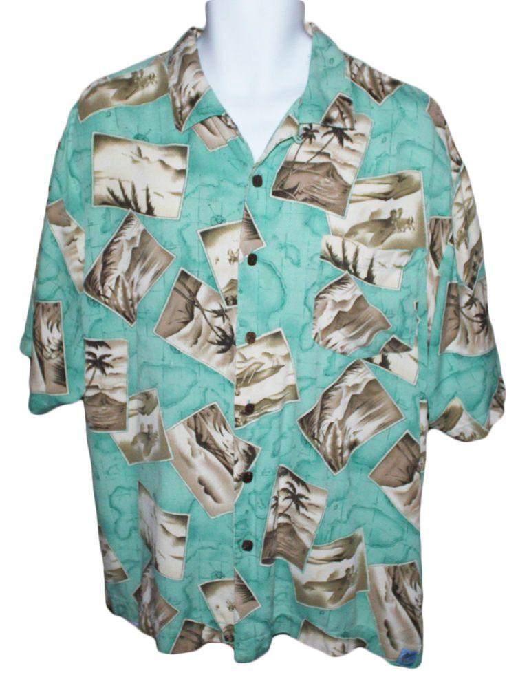 668237bf03d22 Men s XL Bermuda Bay Turquoise Teal Island Print Hawaiian Shirt 100% Silk  SS  BermudaBay  Hawaiian
