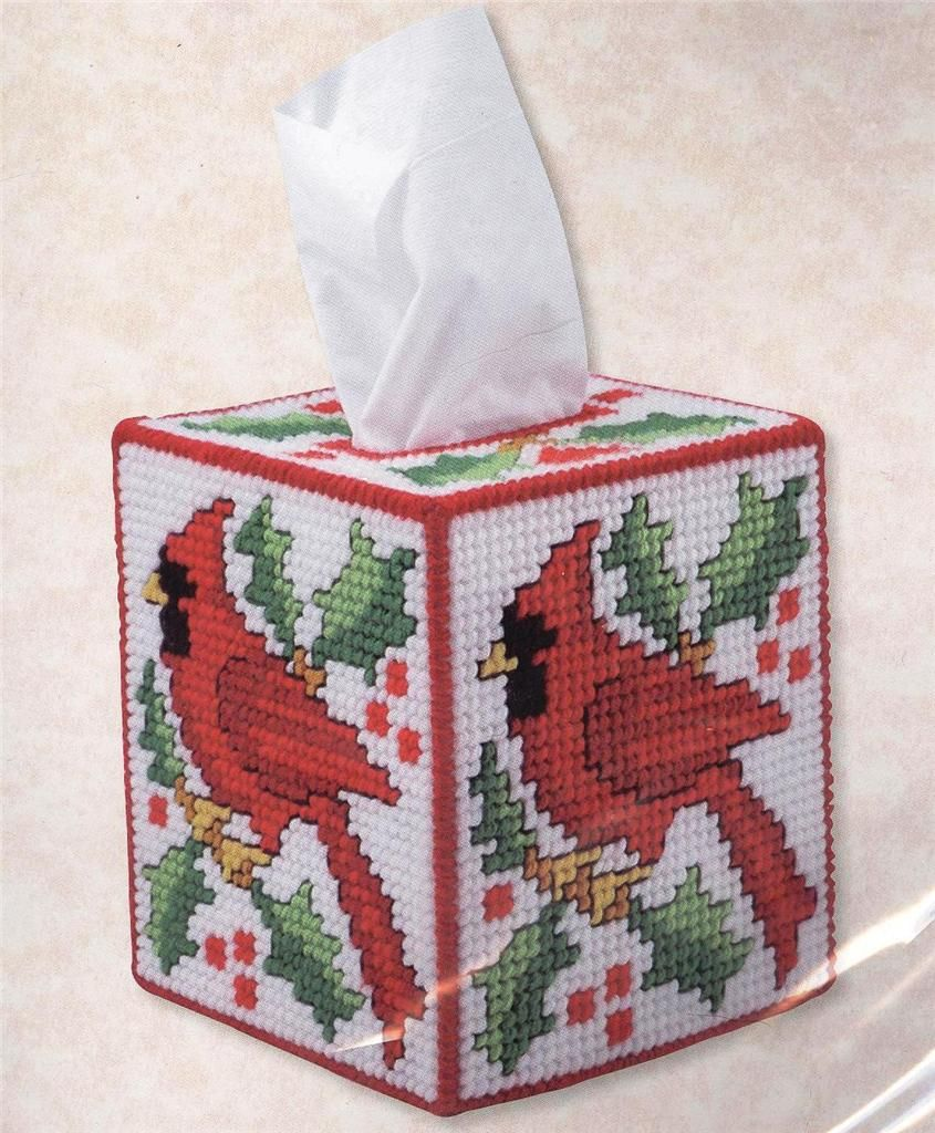 Cardinal kleenex tissue box cover plastic canvas kit new for Tissue box cover craft