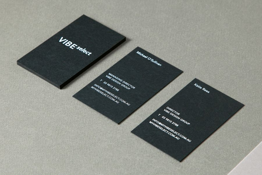 Business card design inspiration no4 bpo black business card black business card design with white ink detail for architecture firm vibe select by studio constantine reheart Choice Image