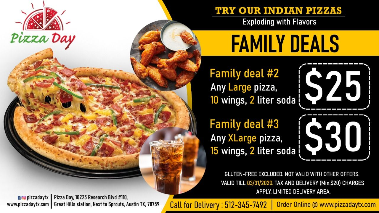 Family Deals! 25 Family Deal 2(Any Large Pizza, 10