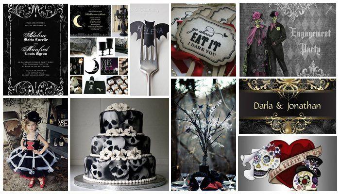 Silver grey & Black theme Halloween Wedding Invitations ...